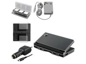 eForCity Clear Crystal Case + 2-Piece Reusable Screen Protector + Gray Travel Charger Bundle Compatible With Nintendo DSi