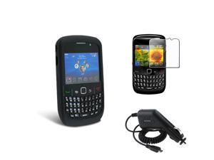 eForCity Compatible With Black Silicone Blackberry Curve 8520 / 8530 Cell Phone Case + Screen Protector + Car Charger