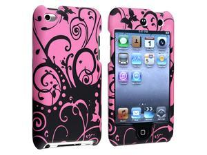 Snap-on Rubber Coated Case compatible with Apple® iPod touch 4th Generation, Purple / Black Swirl