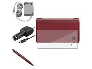 eForCity Gray Travel Charger + 3-LCD Kit Reusable Screen Protector + Wine Red Large Stylus Bundle Compatible With Nintendo ...