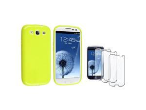eForCity Light Green jelly TPU Rubber Case + 3-piece Screen Protector compatible with Samsung© Galaxy S3 S III i9300