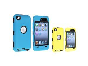 eForCity 2 x Hybrid Case Cover (Black / Yellow , Black / Sky Blue ) Compatible with Apple® iPod Touch 4th Generation