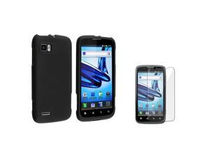 eForCity Black Snap On Hard Rubber Case With  Reusable Screen Protectorcompatible With Motorola Atrix 2 Mb865