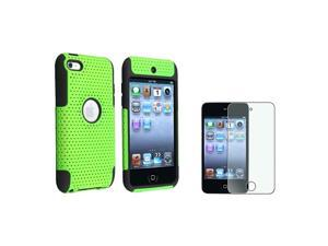 eForCity Hybrid Black & Green Meshed TPU Rubber / Hard plastic Case Cover + Colorful Diamond Screen Protector compatible ...