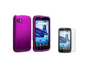 eForCity Purple Snap On Hard Rubber Case With  Reusable Screen Protectorcompatible With Motorola Atrix 2 Mb865