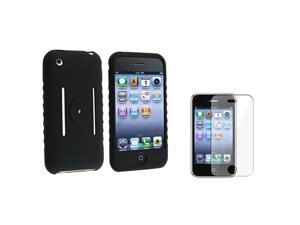 eForCity Black Silicone Skin Case Compatible With Apple® iPhone 3G/3GS/With Reusable Screen Protector. Compatible With iPhone ...