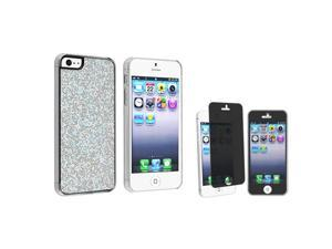 eForCity Silver Bling Rear Hard Case + Privacy LCD Protective Film Compatible With Apple® iPhone 5 / 5S