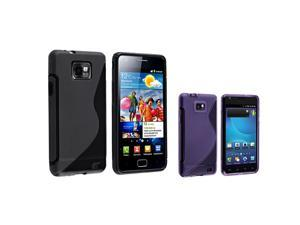 2 Color TPU S-Shape Skin Case Cover compatible with Samsung© T-Mobile Galaxy S 2 AT&T i777, Black and Dark Purple