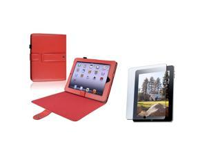 compatible with Apple® iPad Red Leather Case W/ Kick Stand + Anti-Glare Screen Film Guard
