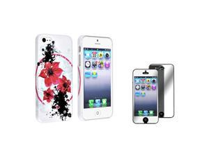 eForCity White / Red Flower Rubber Hard Case with Mirror LCD Screen Protector Compatible with Apple® iPhone 5 / 5S