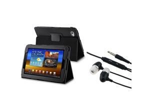 Black Leather Case with Black In-ear (w/on-off) Stereo Headsets compatible with Samsung© Galaxy Tab 7.7
