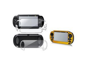 eForCity Gold Aluminum Case + Full Body Reusable Screen Protector Bundle Compatible With Sony Playstation Vita