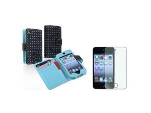 eForCity Black/Blue Dot Leather Wallet Case Cover+Diamond Film For Apple® iPod Touch 4 4th G Gen