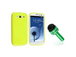 eForCity Light Green Jelly TPU Rubber Skin Case + Green 3.5-mm Headset Dust Cap with Mini Stylus Bundle Compatible With Samsung© ...