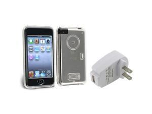eForCity Clear Crystal Hard Case Cover+Wall Home AC Charger For Apple® iPod Touch 1 1st G Gen