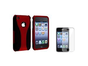 eForCity Snap On Hard Cover Case + With Reusable Clear Screen Protector Compatible With Apple® iPhone 3G 3GS/Red / Black ...