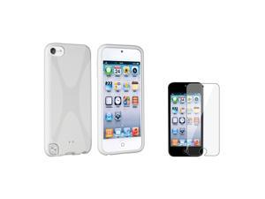 eForCity White X Shape TPU Rubber Case Cover with FREE Reusable Screen Protector compatible with Apple® iPod touch 5/5th/5 ...