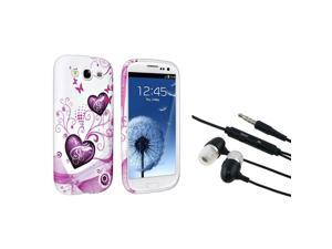 eForCity Black Universal 3.5mm In-Ear Stereo Headset w/On-off & Mic + Pink Heart TPU Rubber Case Bundle Compatible With Samsung© ...