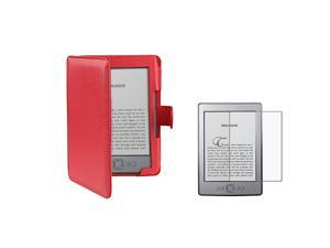"Red Leather Cover Case for Amazon Kindle 4 6"" E Ink Display with Anti-Glare Screen Protector"