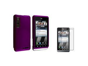 eForCity Purple Rubber Hard Case Faceplate Compatible With Motorola Droid 3 Xt862 W/LCD Film Protector