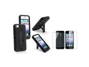 eForCity Black Silicone / Black Hard Hybrid Stand Case + Reusable Front & Back Screen Protector compatible with Apple® iPhone ...