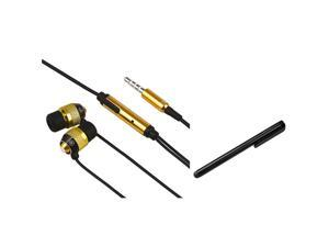 eForCity Gold In-Ear Earphone Mic + Black Stylus Compatible with Samsung© Galaxy S3 i9300 i9500 S4 i9250