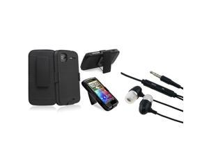 eForCity Black Holster Case With In-Ear  - W/On-Off Stereo Headsets Compatible With HTC Sensation 4G