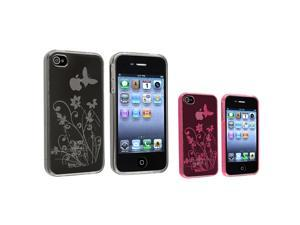 eForCity 2-Pack Of Flower & Butterfly TPU Rubber Skin Cases Compatible With Apple® At&t/Verizon iPhone 4/4S - Clear Hot Pink ...