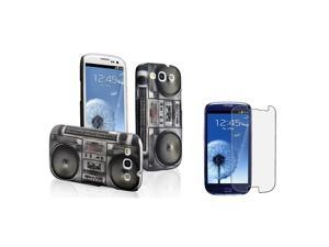 eForCity Black Radio Recorder Rubber Coated Case + Anti-Glare LCD Cover compatible with Samsung© Galaxy S3 S III i9300