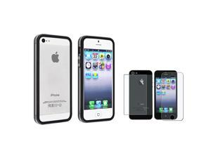 eForCity Clear/ Black Aluminum Button Cover Bumper TPU Case Case + Anti-Glare Front & Back Screen Protector Set compatible ...