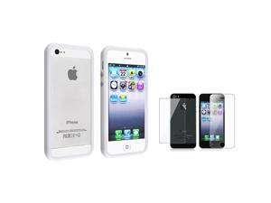 eForCity White Bumper TPU Case w/ Alum Button + Reusable Front & Back Screen Protector compatible with Apple® iPhone 5 / ...