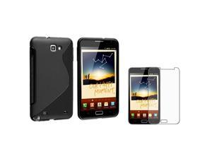 eForCity Black S Shape TPU Rubber Skin Case With  Anti-Glare Screen Protectorcompatible With Samsung© Galaxy Note N7000
