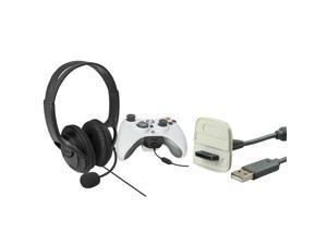 eForCity USB Charging Cable +Black Headset with Microphone Compatible With Microsoft Xbox 360, Xbox 360 Slim