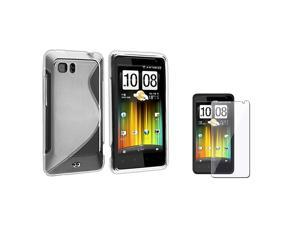 eForCity Frost White S Shape TPU Rubber Skin Case With Reusable Screen Protectorcompatible With HTC Holiday / Vivid