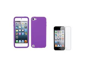 eForCity Solid Skin Cover Electric Purple + Reusable Screen Protector Compatible with Apple® iPod touch 5th generation