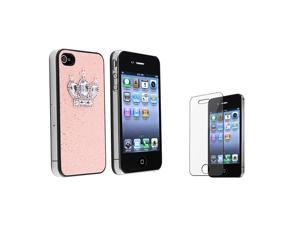 eForCity Light Pink Glitter With Crown Rear Snap On Case With Reusable Screen Protector Compatible With Apple® iPhone 4 / ...