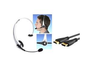eForCity Wireless Bluetooth Headset + Black High Speed HDMI Cable M/M Version 2 For PS3 Game