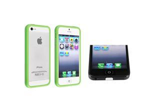 eForCity Green Bumper TPU Case with Aluminum Button with FREE White Docking Port Cap Compatible with Apple® iPhone 5 / 5S