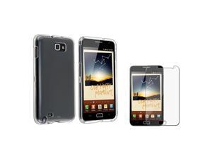 eForCity Clear Crystal Hard plastic Case + Clear Reusable Screen Protector compatible with Samsung© Galaxy Note N7000