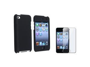 Value Combo BLACK HARD CASE COVER+SCREEN PROTECTOR Compatible with iPod touch 4 G 4th Gen
