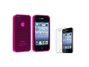 eForCity TPU Rubber Skin Case + Anti-Glare Screen Protector Guard Compatible With Apple® iPhone 4 4S/Clear Hot Pink Mid Diamond