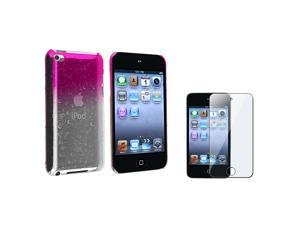 Clear Hot Pink Water Drop Snap-on Case with Reusable Screen Protector Compatible with Apple® iPod touch 4th Generation