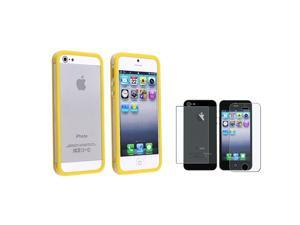 eForCity Clear / Yellow Bumper TPU with Aluminum Button Case + Anti-Glare Front & Back Screen Protector Compatible With Apple® ...