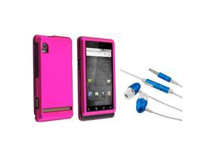 Hot Pink Hard Rubberized Cover + 3.5mm In-Ear Stereo Headset (Blue) for Motorola A855 Droid
