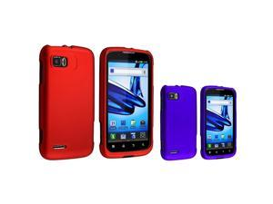eForCity 2 Packs Of Snap On Hard Rubber Cases : Red , Blue Compatible With Motorola Atrix 2 Mb865