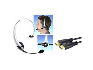 eForCity Silver Wireless Bluetooth Headset+USB Cable+10' Hi-Speed HDMI Cable For PS3 Slim