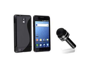 eForCity Black S Shape TPU Rubber Skin Case + Black 3.5-mm Headset Dust Cap with Mini Stylus Bundle Compatible With Samsung© ...