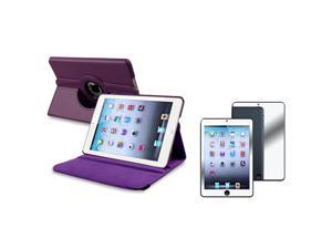 eForCity Purple 360 Rotating Leather Case+ Clear Mirror Screen Protector compatible with Apple® iPad Mini / iPad mini with ...