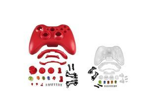 eForCity 2-Pack Plastic Case - Red , Clear  compatible with Microsoft Xbox 360 / Xbox 360 Slim Wireless Controller