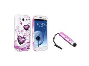 eForCity Pink Heart TPU Rubber Case + Pink Universal Mini Stylus Bundle Compatible With Samsung© Galaxy SIII/S3